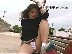 0:46 min - Alenka showing panties at the bench in the park