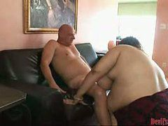 Brunette BBW loves this sex session with horny bald d...