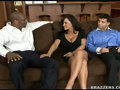 Lisa Ann fucking a big cock while her hubby watches