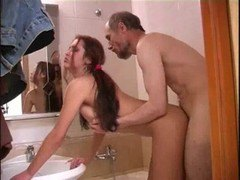 Teen fucked in the bathroom by granpa 10