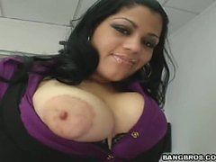 Watch this big titty latin get a big load on her face.