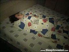 Petite cutie gets felt up while she slumbers