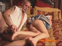 Old pervert fucking his daughter while she sleeps