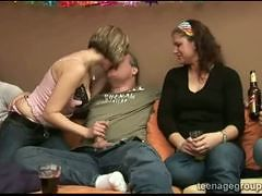 Blonde celebrating a horny sex birthday party at her ...