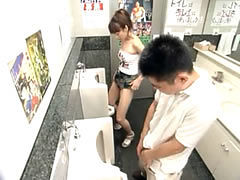 Naughty asian teen tries to pee like boys