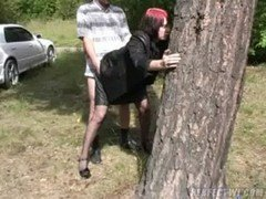 Elizabeth gets fucked in the woods 4