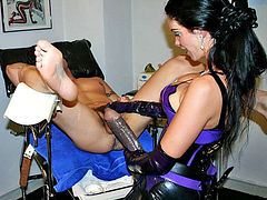 Shocking strap-on femdom fucking action